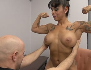 Muscular female cougar Bobbi needs to help Dante pay attention - it seems he is distracted (and attracted!) to Bobbi's sexy, muscular body. When she proposes stripping down for him and giving him a handjob to help him, well, let's just say this is one time Dante didn't mind extra school work!