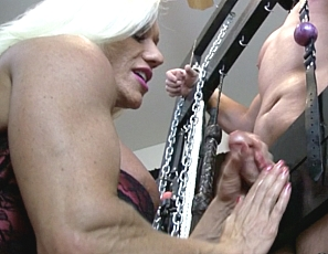 Ashlee Chambers has decided to allow her slave to get some much-needed relief and allow him to cum. However, she needs to get her bicep fucked first - Ashlee is a needy mistress after all. When she gets her fill, she mercifully allows her slave to shoot his huge load all over her muscled bicep.
