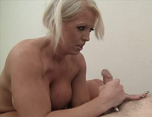 Female muscle porn star Amazon Alura starts her client's massage by masturbating her wet pussy, then poses, putting his cock between her powerful pecs, and uses her big Biceps Muscles to give him a mind-blowing Hand Job while she plays with her clit. Watch them both cum in Close-Up.
